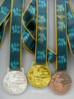 1996 Atlanta Olympic Medals Set: Gold /Silver /Bronze with Silk Ribbons