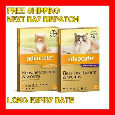 Advocate 6 packs Flea and Worm/Heartworm Control/Treatment For Cats - All Sizes