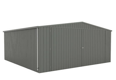 Absco Double Eco Garage Shed- 5.6m x 5.5m x 2.1m Barn Door Sheds W41N3 Grey
