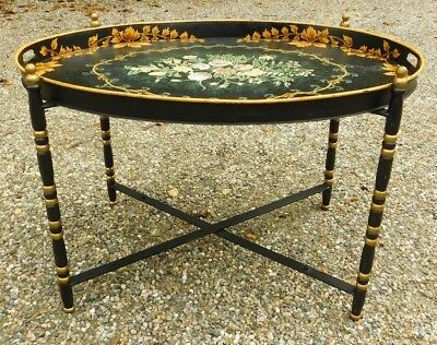 Charmant EXTRA LARGE Italian Vintage/Antique Hand Painted Flowers Tole Metal Tray  Table