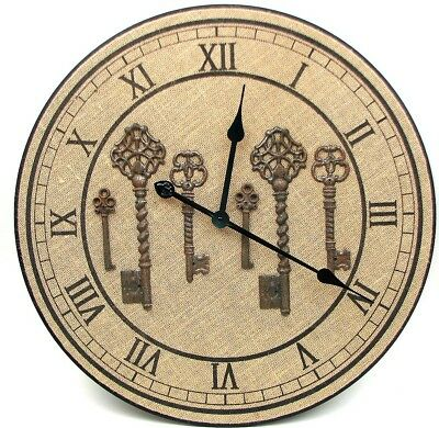 "New 23"" Wood Burlap Large Wall Clock Shabby Chic Key Rustic Home Decor Timepiece"
