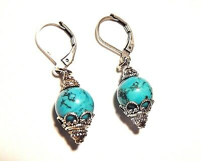 Natural Turquoise Round Single Drop Earrings Bali and Oxidized Silver Leverbacks