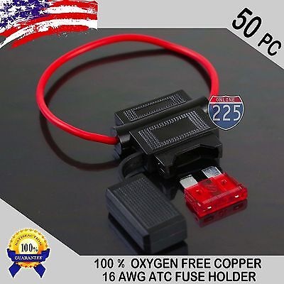 50 Pack 16 Gauge ATC In-Line Blade Fuse Holder 100% OFC Copper Wire + 1A - 40A