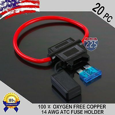 20 Pack 14 Gauge ATC In-Line Blade Fuse Holder 100% OFC Copper Wire + 1A - 40A