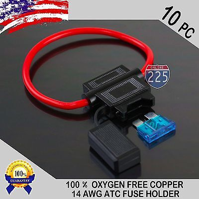 10 Pack 14 Gauge ATC In-Line Blade Fuse Holder 100% OFC Copper Wire + 1A - 40A