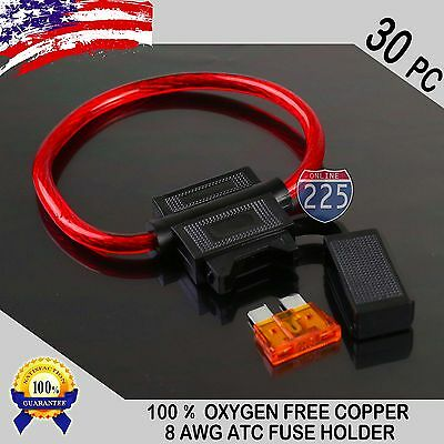 30 Pack 8 Gauge ATC In-Line Blade Fuse Holder 100% OFC Copper Wire + 1A - 40A
