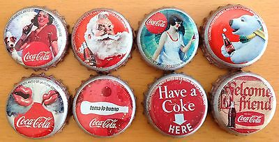 *s* Lot Of 8 Coca-Cola Bottle Caps From Colombia --Used--