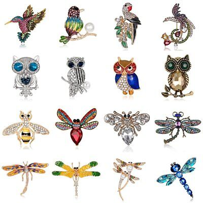 Woman Crystal Pearl Bird Owl Dragonfly Bee Animal Brooch Pin Lady Jewelry Gift