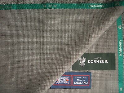 """DORMEUIL 100%SUPERFINE WOOL SUITING """"HARMONY""""FABRIC IN Black/White Nailhead-3.4m"""
