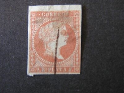 SPAIN, SCOTT # 47, 2r. VALUE BROWN 1856 QUEEN ISABELLA II IMPERF.ISSUE USED