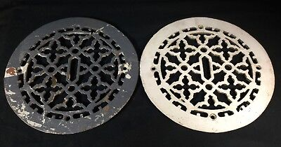 Antique Vtg Ornate Cast Iron Grate Lot 2 Round Register Heating Vent Floor Wall