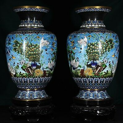 32 inch tall, huge pair of vintage Chinese cloisonne vases