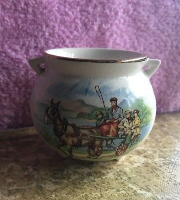 Vintage Tiny Footed Bowl Handles A Souvenir Of Ireland Arklow Ironstone