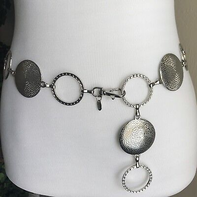 "Silver Tone Metal Concho Chain Hip Belt 34"" M Medium Vtg"