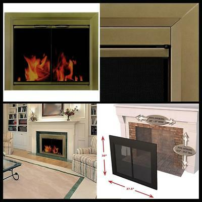 Premium/Fine Mesh Panel Antique Brass Small Portable Cahill Fireplace Glass Door