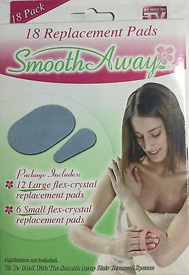 SMOOTH AWAY HAIR REMOVAL 18 REPLACEMENT  PADS 12 LARGE 6 Small -3M Brand New