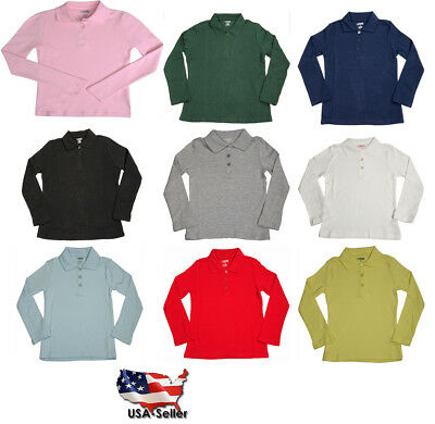 French Toast School Uniform Girls Long Sleeve Interlock Polo Shirt (Sizes 4-20)