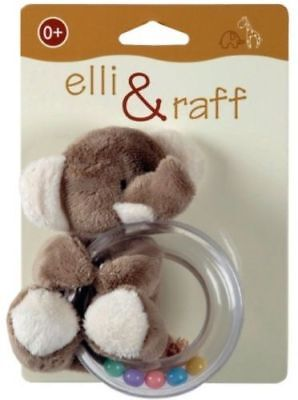Elli & Raff Elephant Cute Soft Plush Babys Teether Rattle 0+ Brown