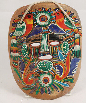 Vntg Mexican Ceramic Hanging Mask Folk Art Hand Made Painted Collectible 1950's