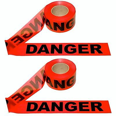 "Danger Barricade Tape ~ 3"" x 1000' ~ 2 Rolls ~ NEW"