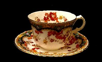 c1902 Doris by Collingwoods Cup & Saucer Tan, Green & Rust Scale Pattern Floral