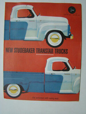 New Studebaker Transtar Trucks Fold-Out Car Brochure 1/2 Ton Truck 1955