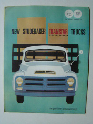 New Studebaker Transtar Trucks Fold-Out Car Brochure 3/4 &  1 Ton Truck 1955