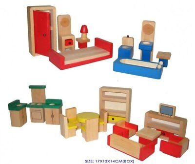 Wooden Doll House Furntiure Set,  5 Rooms, Non Toxic, Dolls House Furniture Set