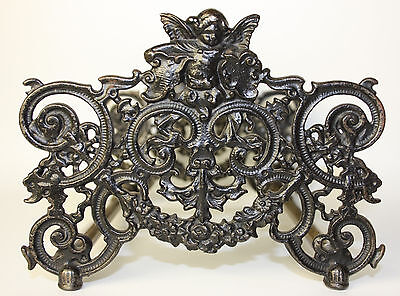 Fantastic Antique Baroque Style Expanding Adjustable Sliding Bookends W/ Putti