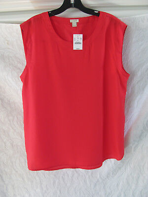 b2cf68f34a54a3 J.Crew Sleeveless Polyester Blouse/Top -Bright Poppy -Size Large -NWT