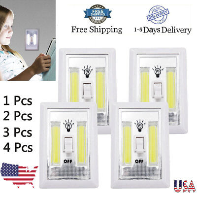 4 × COB LED Wall Switch Night Light Cordless Battery Operated White Light 3W
