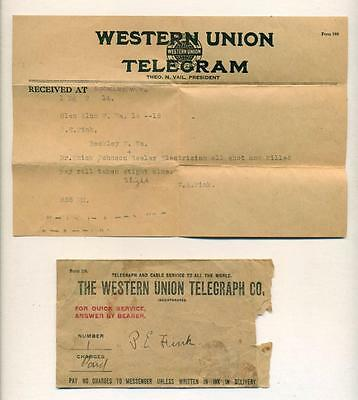 1914 GLEN ALUM PAYROLL ROBBERY TELEGRAM Mingo Co., WV MURDER CRIME POSSE MANHUNT