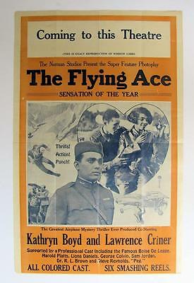 c1926 NORMAN STUDIOS FLYING ACE POSTER, BLACK EXPLOITATION African American Film