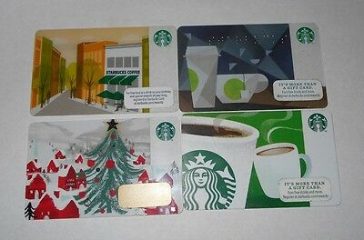 Lot of 4 Starbucks Collectible Gift Cards 2012 2014 2016 Christmas Coffee $0