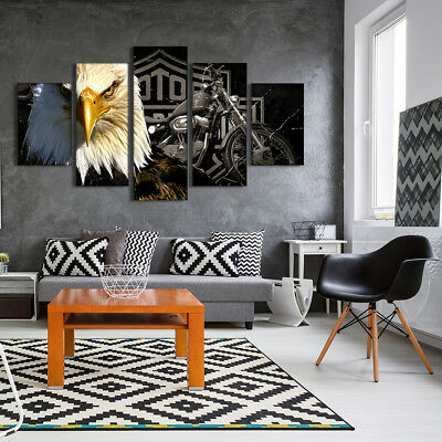 Unframed Eagles Motorcycle Abstract Punk Painting Canvas Pictures Wall Decor Art