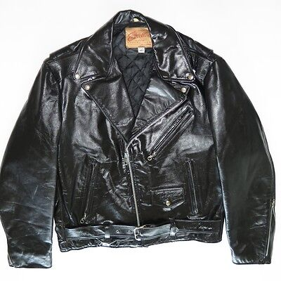VINTAGE ORIGINAL EXCELLED LEATHER JACKET BLACK MOTORCYCLE 1970s 44 T MADE IN USA