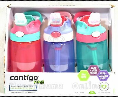 3 Avex/Contigo Autospout Leak Proof Drinking Water Bottle for Kids BPAFree Set A