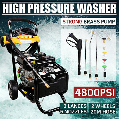 10HP 4800PSI High Pressure Washer Cleaner Petrol Water Pump Gurney 20M Hose NEW