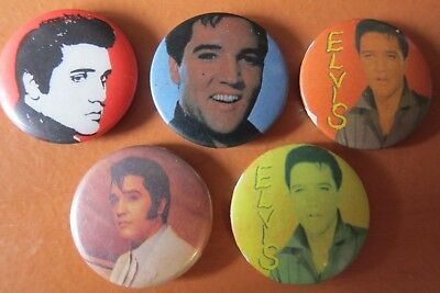 5 Vintage Elvis Presley Badges Hard To Find (Lot 1)