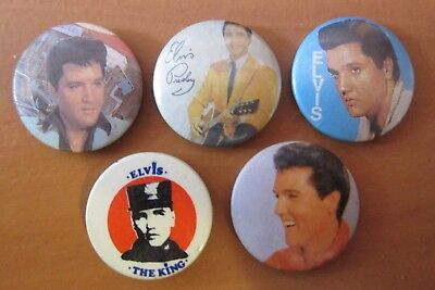 5 Vintage Elvis Presley Badges Hard To Find (Lot 2)