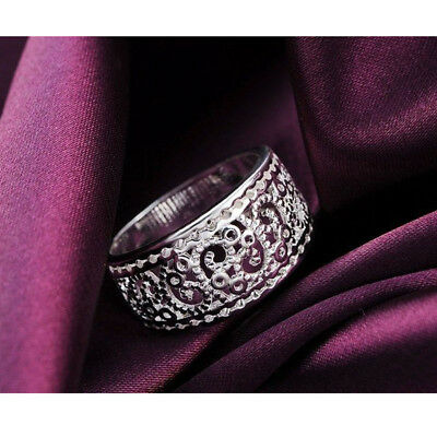 Silver Plated Wedding Ring Jewelry Ladies Rings Women New Hollow Classic Gift