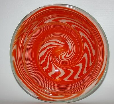 Rare Signed Ed Langbein Mid-Century Modern Op Art Exclusive Murano Glass Bowl