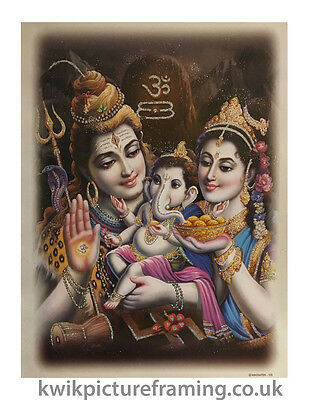 "Shiva Parvati & Ganesh Hindu Gods Picture Photo Framed In Size 20"" x 14"" Inches"