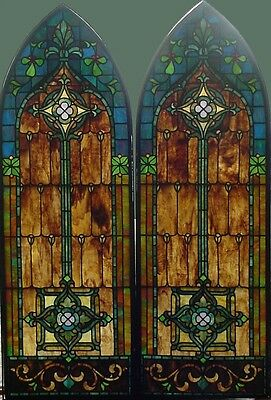 Pr. Antique American Arched Stained Glass Windows in Bronze Frames