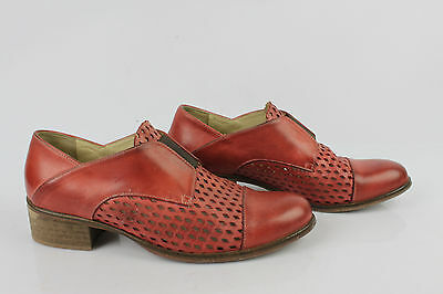 Derby Shoes all Leather and Tulle Netting Red Made in Italy 39 Very Good
