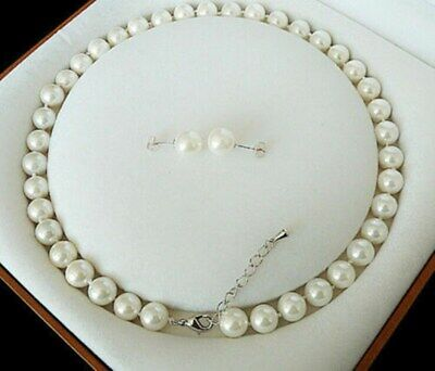 Charming 8mm White Akoya Cultured Shell Pearl Necklace Earring Set 18'' AAA
