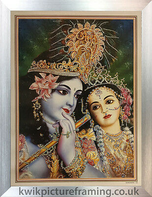 "Radha Krishna Picture Photo Framed - 20"" x 14"" Inches 