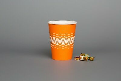 100 Paper Cups ORANGE & LIDS Party Tableware Catering Supplies Kids DIY Creating