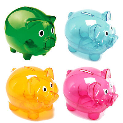 Kid Gift Personalised Clears Piggy Bank Money Box Coins Children Saving Any Name