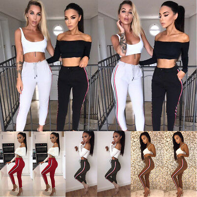 Womens Casual Striped Pants Elastic High Waist Cropped Length Yoga Trousers Pant